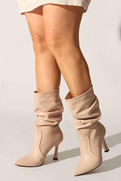 Bej Cilt Kadın Çizme