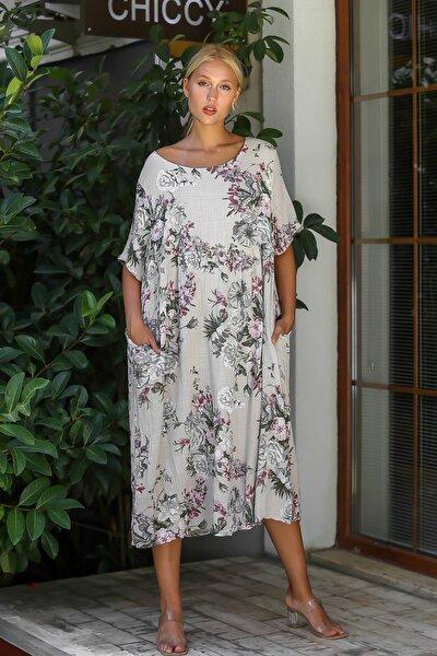 Kadın Bej İtalyan Sıfır Yaka Gül Desenli Beli Büzgülü Astarlı Kısa Kol Elbise M10160000EL94314