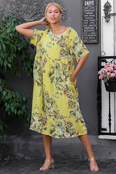Kadın Sarı İtalyan Sıfır Yaka Gül Desenli Beli Büzgülü Astarlı Kısa Kol Elbise M10160000EL94314