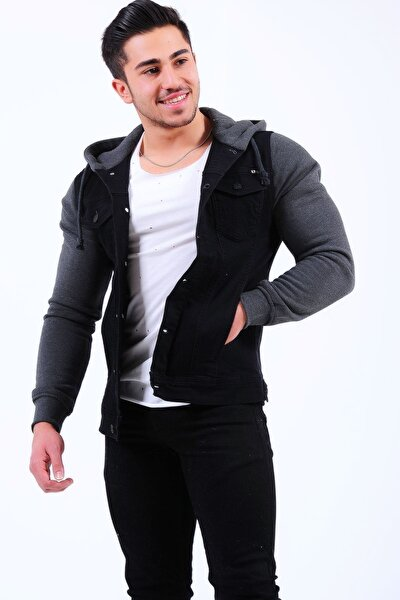 Erkek Siyah Kol Füme Polar Kot Ceket