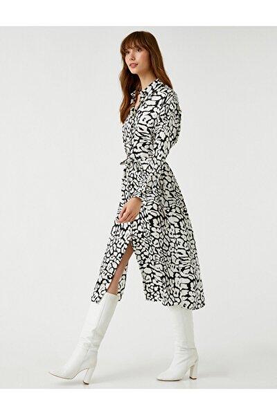 Beli Kusakli Gömlek Elbise Desenli Midi