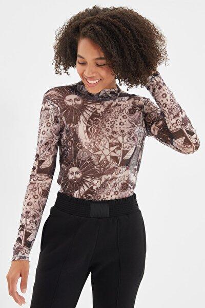 Siyah Desenli Tül Örme Bluz TWOAW20BZ1098