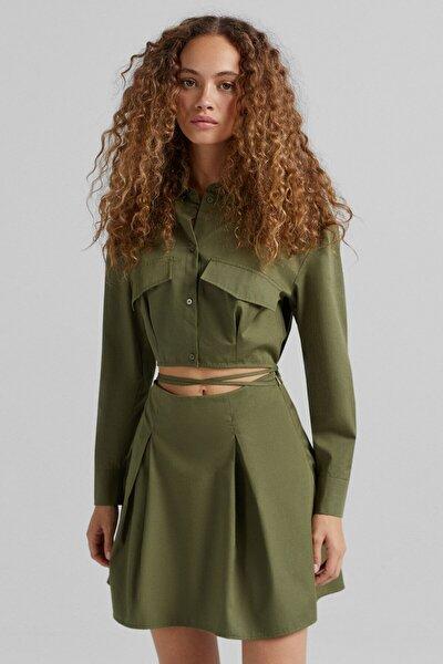 Pencere Detaylı Pilili Utility Elbise