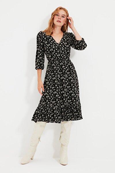 Siyah Çiçekli Düğmeli Elbise TWOSS20EL0577