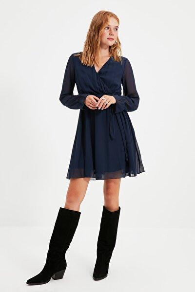 Lacivert Kuşaklı Elbise TWOAW20EL0789