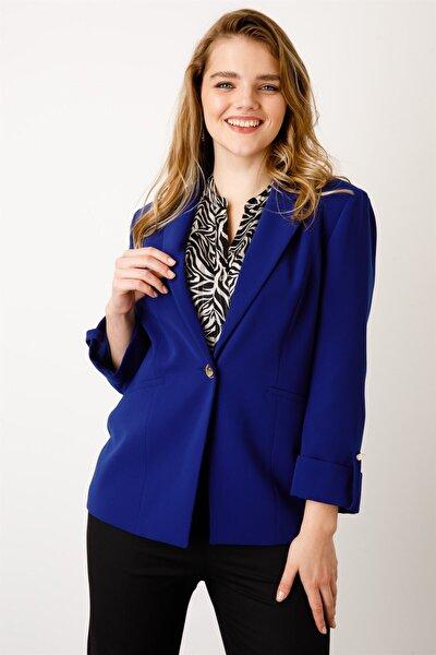 Kadın Lacivert Tek Düğme Ceket 5503