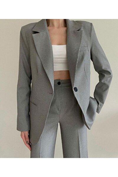 Kadın Gri Silver Palazzo Ceket Pantalon Takım