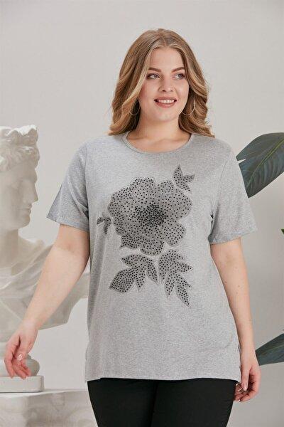 Kadın Büyük Beden Baskı Ve Taş Detaylı Tişört Gri