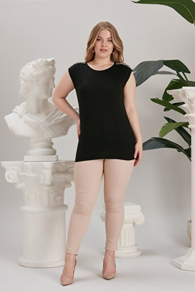 Kadın Eteği Lastikli Omuzları Simli Şerit Detaylı Tişört Siyah