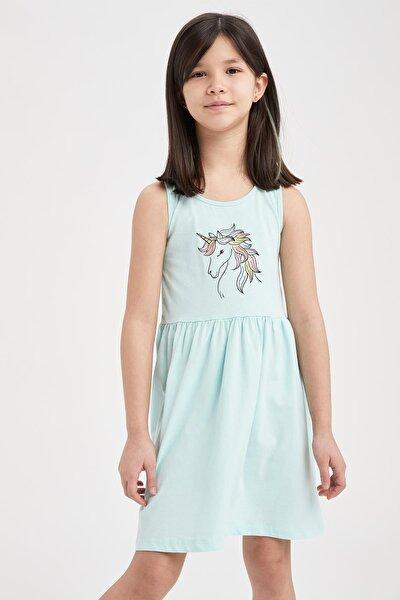 Kız Çocuk Unicorn Baskılı Kolsuz Elbise