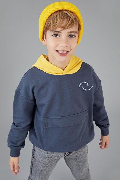 Erkek Çocuk Oversize Zarf Cepli Organik Pamuk Sweatshirt