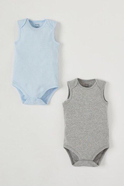 Erkek Bebek Kolsuz 2'li Çıtçıtlı Pamuklu Body