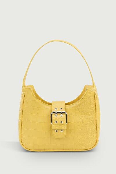 Kadın Sarı Tokalı Timsah Desenli Baguette Çanta