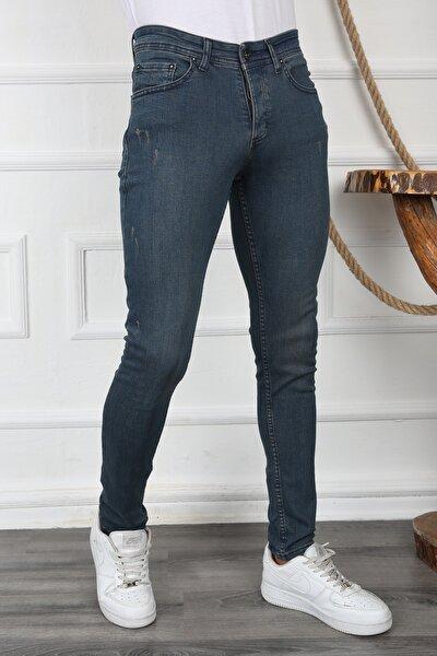 Erkek Taşlamalı Kahve Slim Fit Kot Pantolon