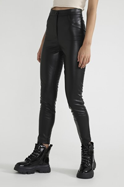 Cep Detaylı Dar Deri Pantolon Siyah