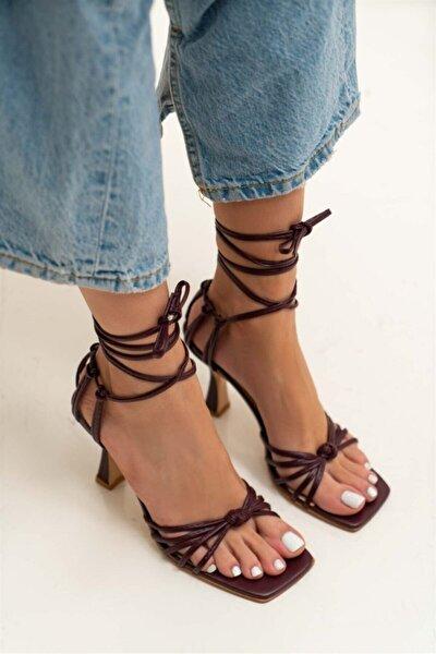 Bordo Mat Bilek Bağ Detay Topuklu Sandalet