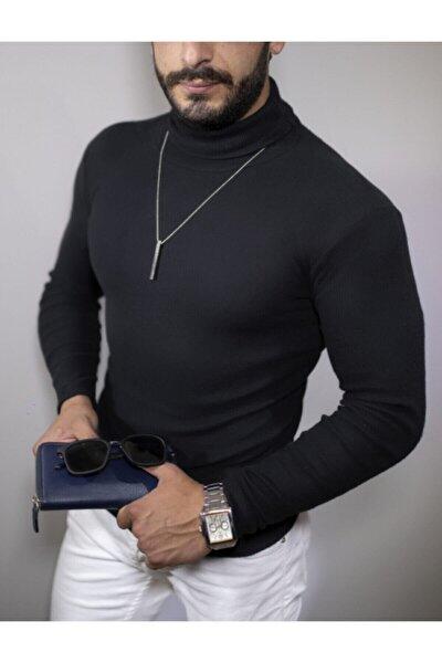 Erkek Siyah Boğazlı Kazak