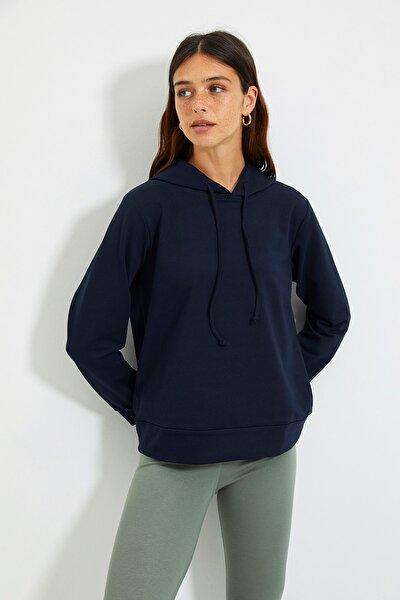 Lacivert Kapüşonlu Basic Örme Sweatshirt TWOAW20SW0059