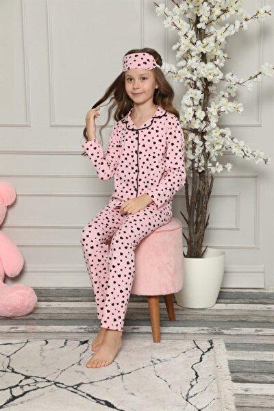 Kız Çocuk Pembe Kalpli Pijama Takımı