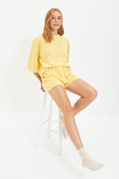 Sarı Bisiklet Yaka Pijama Takımı THMSS21PT0164