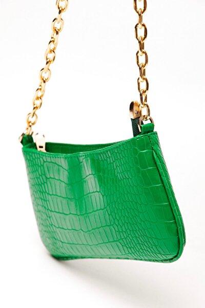 Kadın Zincirli Krokodil Omuz Çantası Yeşil