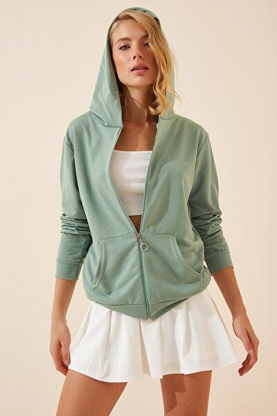 Kadın Çağla Yeşili Kapüşonlu Fermuarlı İnce Sweatshirt DI00009