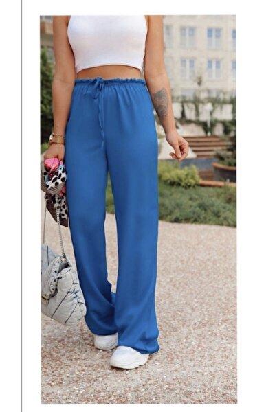 Kadın Mavi Bol Paça Pantolon