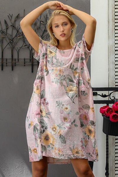 Kadın Pudra İtalyan Sıfır Yaka Lilyum Desenli Cepli Dokuma Kısa Kol Elbise M10160000EL94282