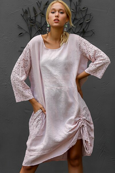 Kadın Pudra İtalyan Kolları Dantel Yanı Büzgü Bağlamalı Oversize Cepli Keten Elbise M10160000EL94245