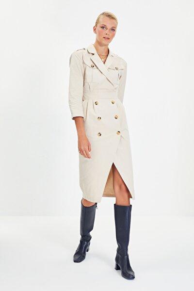 Taş Düğmeli Ceket Elbise TWOAW22EL0270