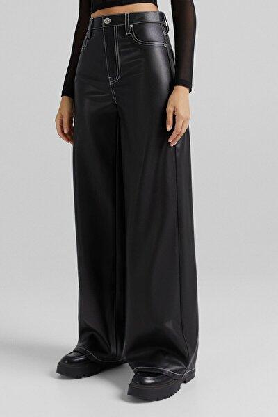 Wide Leg Suni Deri Kontrast Pantolon