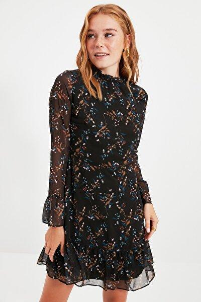 Siyah Çiçek Desenli Elbise TCLAW19LJ0076