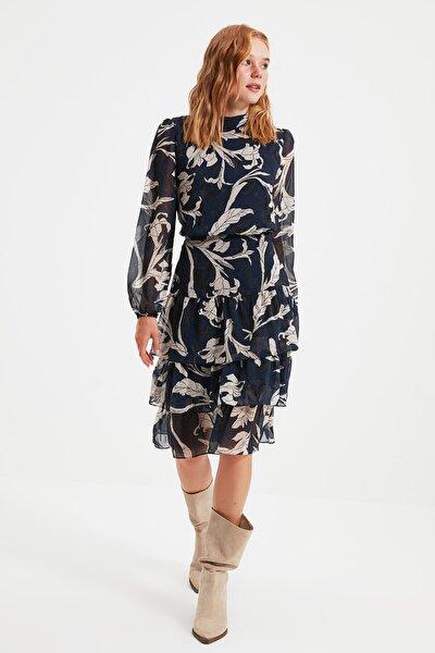 Lacivert Volanlı Elbise TWOAW21EL0354