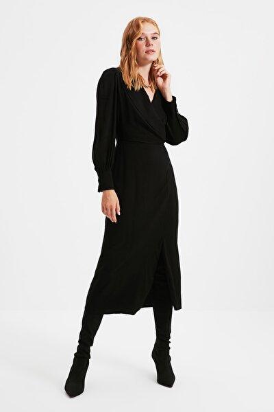 Siyah Kruvaze Yaka Elbise TWOAW21EL0230