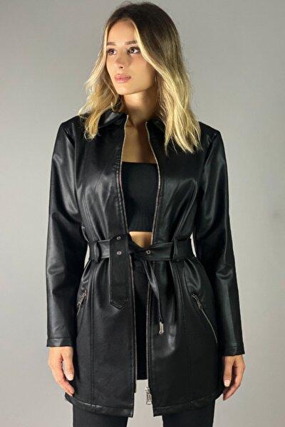 Kadın  Siyah Uzun Deri Ceket