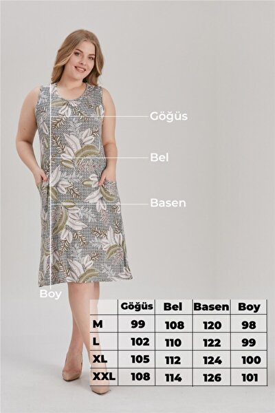 Kadın Büyük Beden Cepli Yaprakdesenliı Elbise Krem