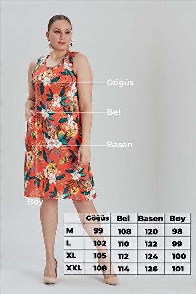 Kadın Büyük Beden Çiçek Desenli Cepli Elbise Nar Çiçeği