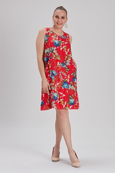 Kadın Büyük Beden Cepli Çiçek Desenli Elbise