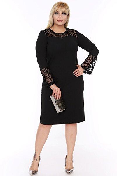 Kadın Siyah Ispanyol Kol Elbise 4d-88249