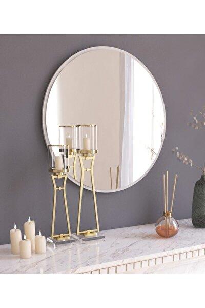Tarz Design Dekoratif Yuvarlak Ayna Beyaz Antre Hol Koridor Duvar Salon Mutfak Banyo Wc Ofis Aynası