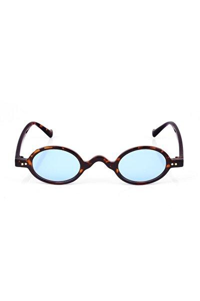 Leopar Çerçeveli Mavi Camlı Minimal Retro Unisex Güneş Gözlüğü