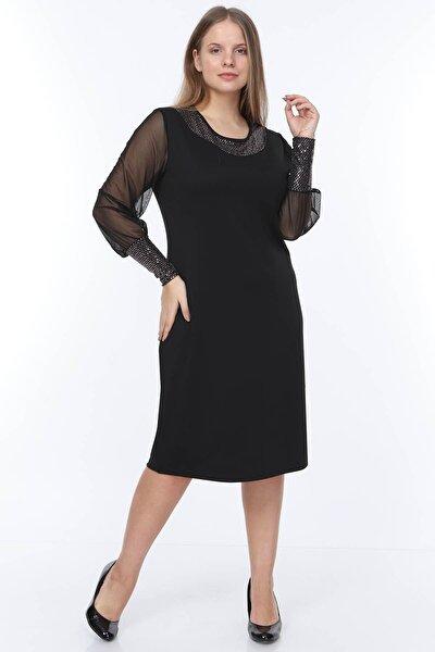 Yaka Kol Parlak Büyük Beden Elbise 14e-0934