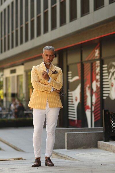 Erkek Sarı Çizgili Kruvaze Ceket