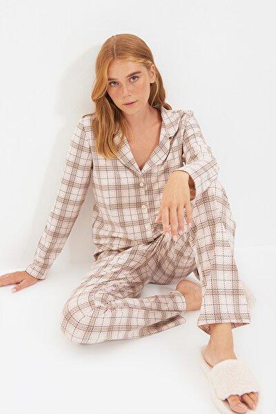 Bej Ekoseli Gömlek Pijama Takımı THMAW20PT0266