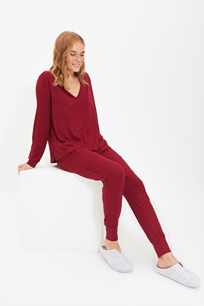 Bordo Viskon Örme Pijama Takımı THMAW21PT0062