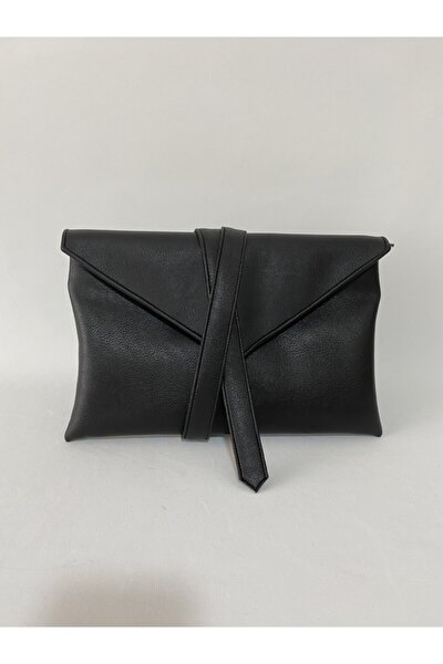 Siyah Suni Deri Kapaklı Clutch Portföy Çanta