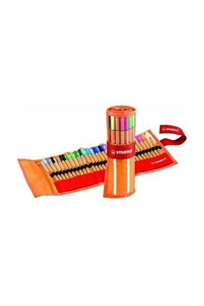 Mandala Kitap Hediyeli + Point 88 Ince Keçe Uçlu Kalem 25+5 Floresan Renk Rülo Çantalı Set