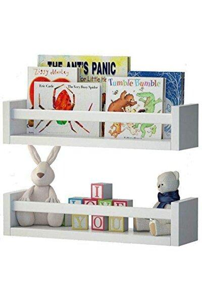 Montessori Çocuk Odası Eğitici Kitaplık 2 Li Duvar Raf Set