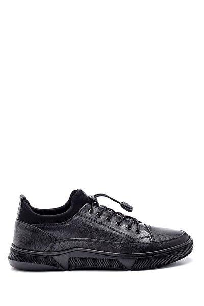 Erkek Siyah Deri Sneaker