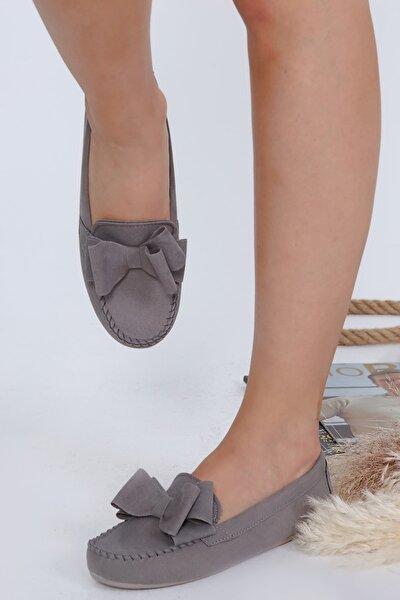 Füme Fiyonklu Kadın Günlük Casual Sneaker Babet Ayakkabı Byndmot02